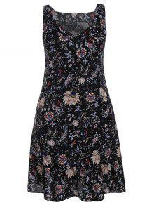 Plus Size Wide Strap Floral Tank Dress - Black 3xl