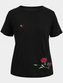 Floral Bee Embroidered Plus Size Tee - Black 3xl