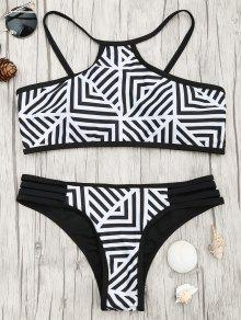 Padded Stripe Print Bikini Set - White And Black S