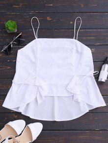 Back Zip Bowknot Volantes Tank Top - Blanco L