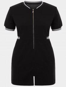Zipper Contrast Stripe Plus Size Dress With Pockets - Black Xl