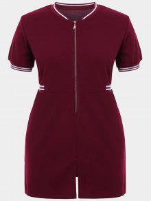 Zipper Contrast Stripe Plus Size Dress With Pockets - Wine Red 3xl