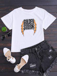 Drop Shoulder Letter Cotton T-Shirt - White M