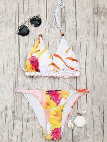 Floral Print Padded Tanga Bikini Set - Multicolor M