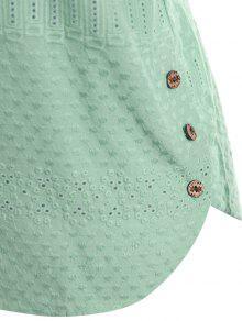 Claro Verde Bolsillo Blusa Animados Dibujos Bordados Con Superior 4xl w6Sxq0C