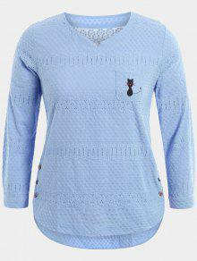 Cartoon Embroidered Plus Size Blouse With Pocket - Light Blue 2xl