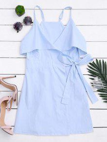 Overlay Slip Wrap Mini Dress - Light Blue M
