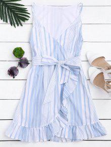 Belted Stripes Ruffles Slip Dress - Stripe M