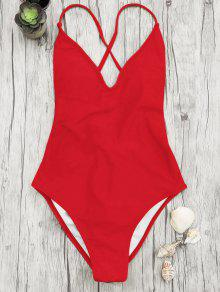 V Neck High Cut One Piece Swimsuit - Red M