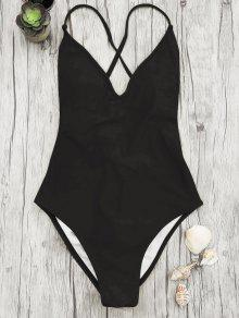 V Neck High Cut One Piece Swimsuit