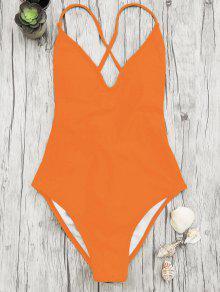 V Neck High Cut One Piece Swimsuit - Orange M