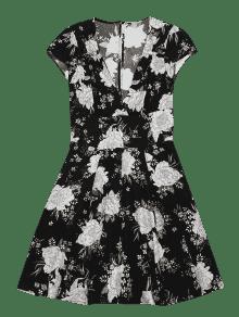 Negro Con V Escotado L De Vestido Cuello Flores En qZ06W5z