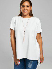 Plus Size Open Back Lace Panel Slit T-shirt WHITE: Plus Size 5XL ...