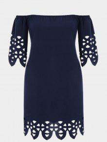 Plus Size Off Shoulder Laser Cut Trapeze Dress - Purplish Blue 2xl