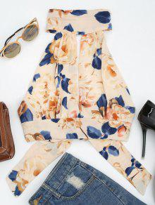 Floral Print Cut Out Sleeveless Crop Top - Apricot M