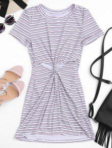 Twist Stripes Cut Out Mini Dress - Stripe S