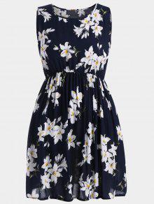 ألف خط بلا أكمام الزهور بالاضافة الى حجم اللباس - ازرق غامق 5xl