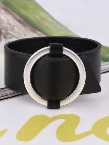 Artificial Leather Metal Circle Bracelet - Black