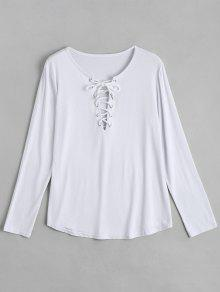 Lace Up Long Sleeve Plunge Tee - White L