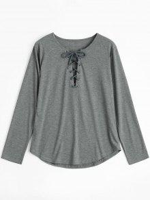 Lace Up Long Sleeve Plunge Tee - Gray S