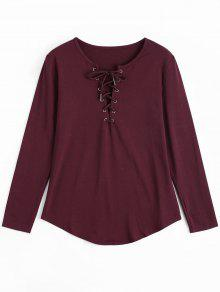 Lace Up Long Sleeve Plunge Tee - Wine Red M