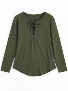 Lace Up Long Sleeve Plunge Tee - Army Green S