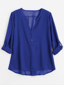 Botón Con Cuello En V Embellecido Blusa - Azul M