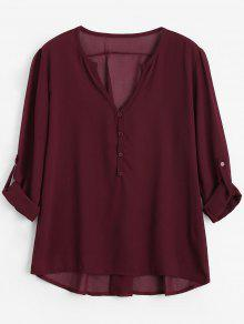 V Neck Button Embellished Blouse - Wine Red 2xl