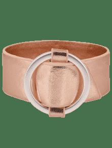 Artificial Leather Metal Circle Bracelet - Rose Gold