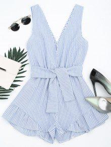 Plunging Neck Belted Striped Romper - Blue Stripe S