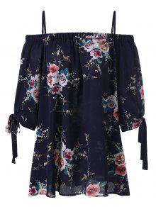 Plus Size Floral Cold Shoulder Blouse - Purplish Blue Xl