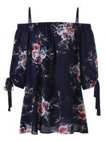 Plus Size Floral Cold Shoulder Blouse - Purplish Blue 5xl