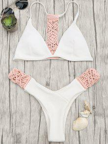 Padded Macrame Thong Bikini Set - Pink And White S