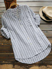 Striped Button Up Pocket Blouse - Gray