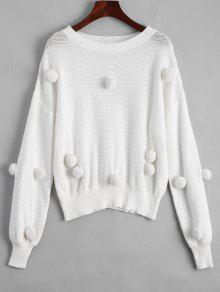 Loose Balls Patched Sweater - White M