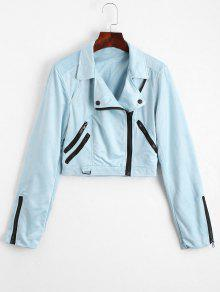 Fuax Suede Zip Up Cropped Jacket - Light Blue M