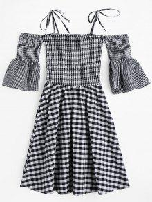 Flare Sleeve Cami Smocked Plaid Dress - Plaid L