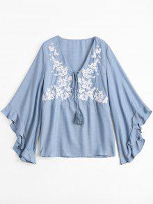 Floral Embroidered Tunic Chambray Blouse - Light Blue L