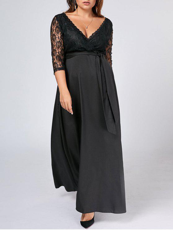 Vestido de tafetán de encaje tamaño maxi - Negro 5XL