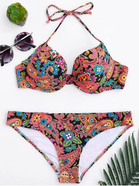 women's Fuller Bust Underwire Moulded Bikini Set - FLORAL S