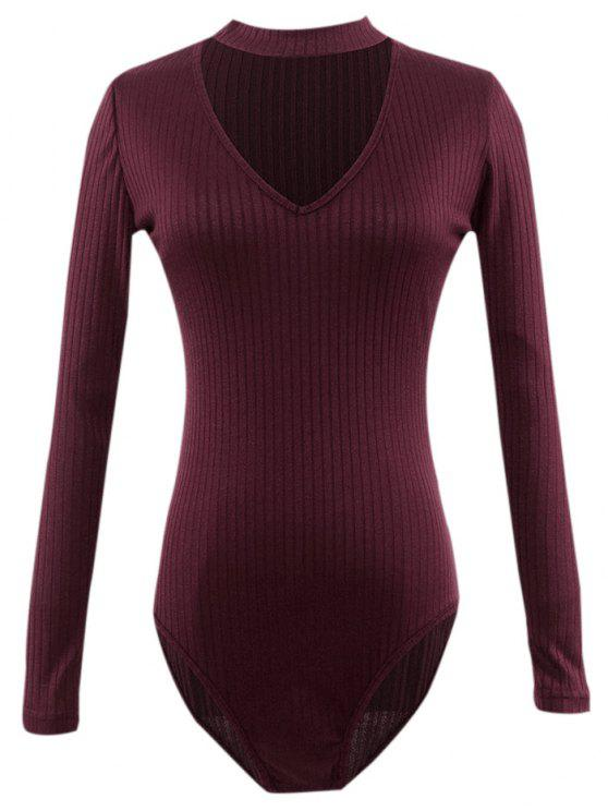 latest Cut Out Fitted Choker Bodysuit - BURGUNDY S
