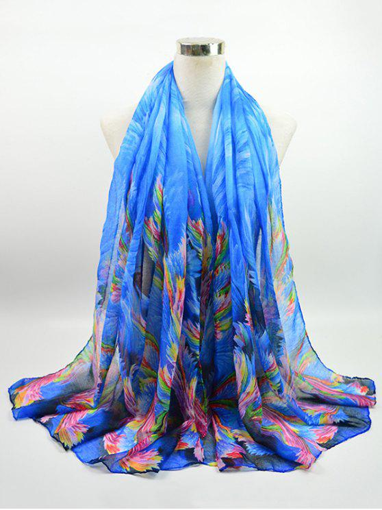 Multicolor Watercolor Printed Voile Gossamer Shawl Scarf - Azul