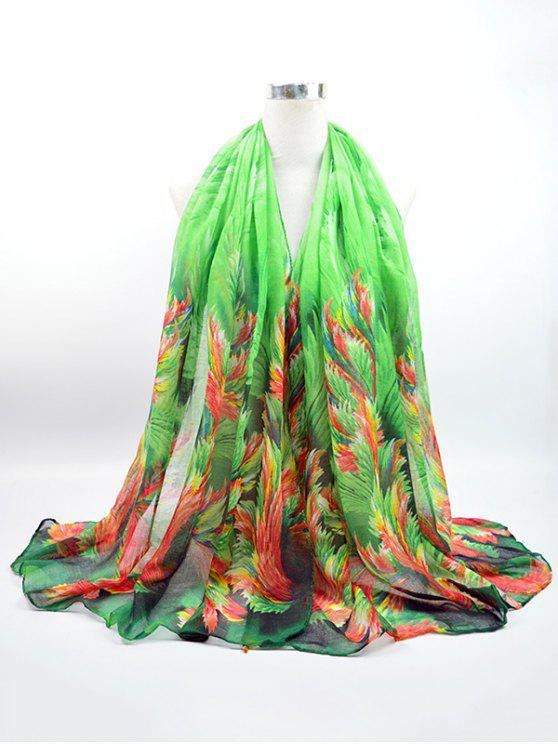 وشاح من قماش الفوال مطبوع بألوان متعددة - أخضر