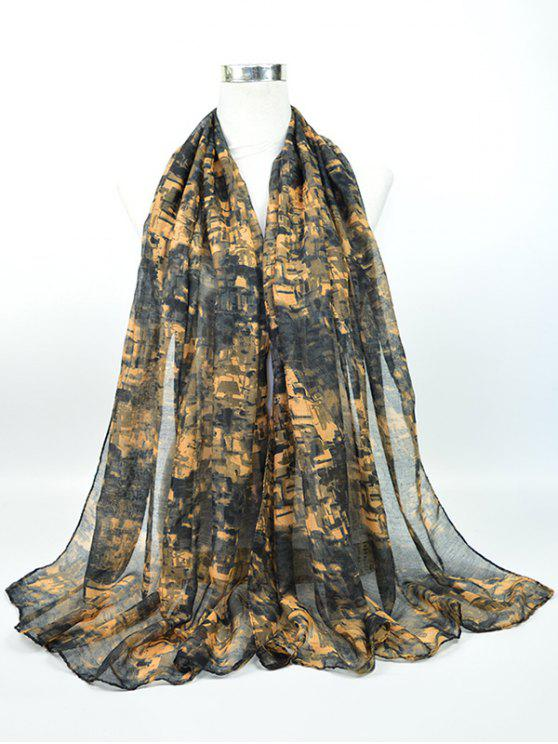 Nostalgisches Muster Voile Gossamer Schal Schal - schwarz grau