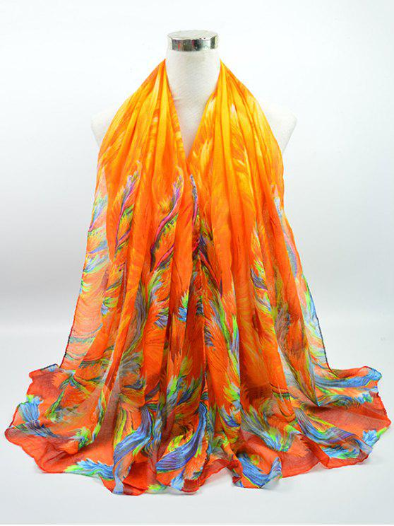 Multicolor Watercolor Printed Voile Gossamer Shawl Scarf - Laranja Brilhante