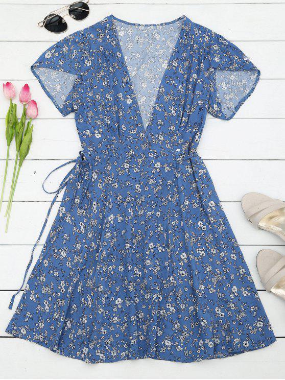 فستان طباعة الأزهار المصغرة مصغر لف شاطئ - الأزهار S