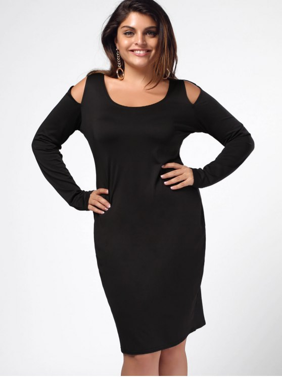 Robe de gaine épaule fantaisie - Noir XL