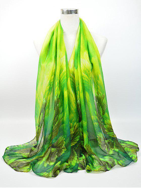 Retro Blühende Blütenmuster Voile Gossamer Schal - Jadegrün