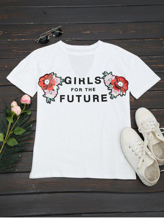 women Choker Floral Embroidered Sequins Top - WHITE L
