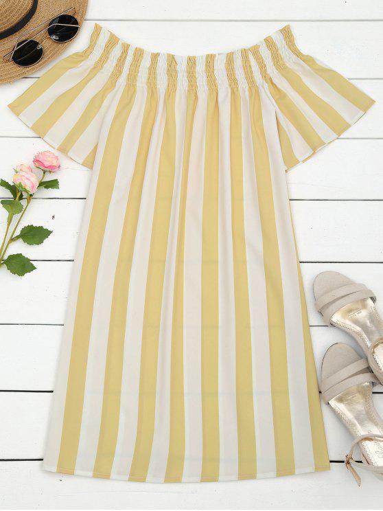 fashion Stripes Off Shoulder Shift Dress - STRIPE S